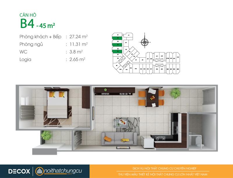 Mặt bằng căn hộ chung cư 8X Đầm Sen 45m2 : căn hộ B4 1 phòng ngủ.