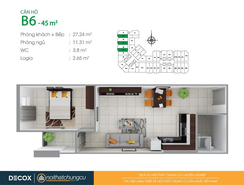Mặt bằng căn hộ chung cư 8X Đầm Sen 45m2 : căn hộ B6 1 phòng ngủ.