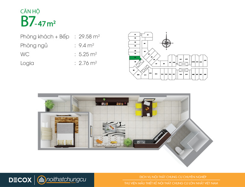 Mặt bằng căn hộ chung cư 8X Đầm Sen 47m2 : căn hộ B7 1 phòng ngủ.