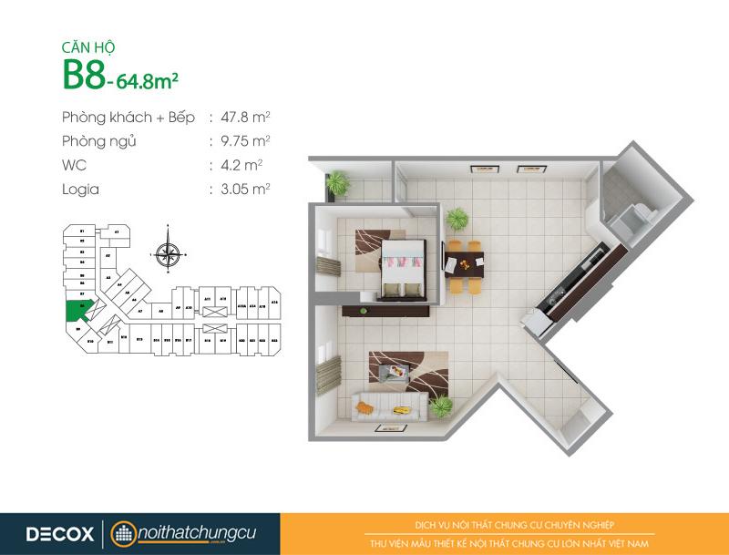 Mặt bằng căn hộ chung cư 8X Đầm Sen 64m2 : căn hộ B8 1 phòng ngủ.