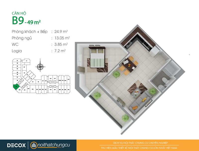 Mặt bằng căn hộ chung cư 8X Đầm Sen 49m2 : căn hộ B9 1 phòng ngủ.