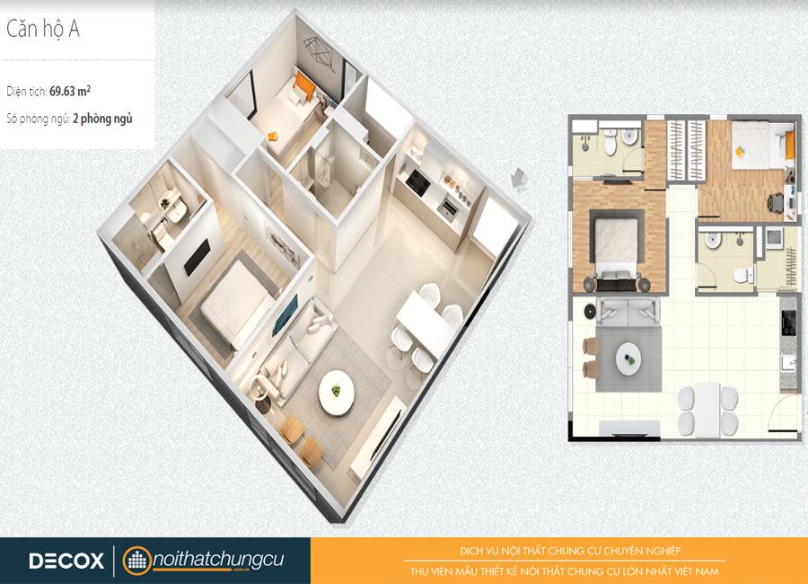 Mặt bằng căn hộ chung cư Citihome 69m2 : căn hộ A – 2 phòng ngủ