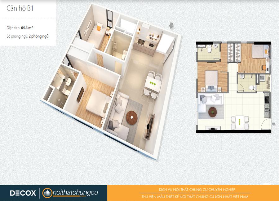 Mặt bằng căn hộ chung cư Citihome 64m2 : căn hộ B1 – 2 phòng ngủ