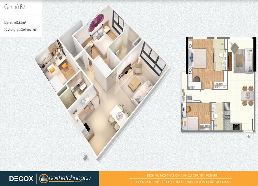Mặt bằng căn hộ chung cư Citihome 62m2 : căn hộ B2 – 2 phòng ngủ