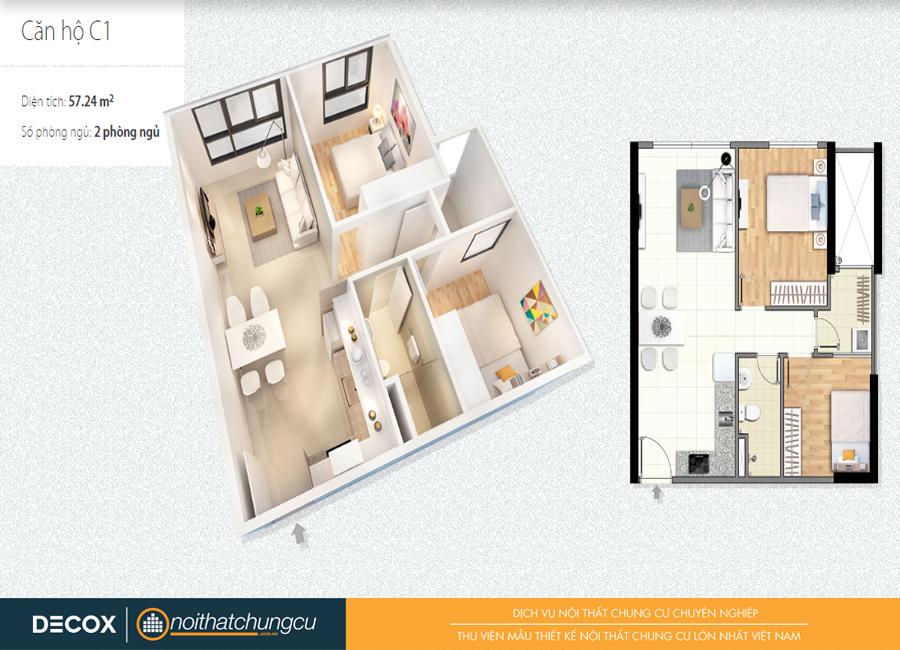 Mặt bằng căn hộ chung cư Citihome 57m2 : căn hộ C1 – 2 phòng ngủ