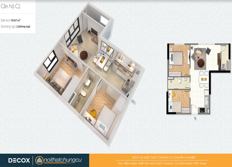 Mặt bằng căn hộ chung cư Citihome 59m2 : căn hộ C2 – 2 phòng ngủ