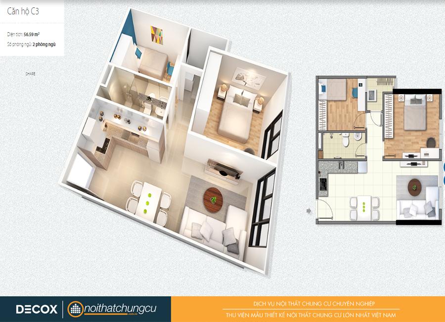 Mặt bằng căn hộ chung cư Citihome 56m2 : căn hộ C3 – 2 phòng ngủ
