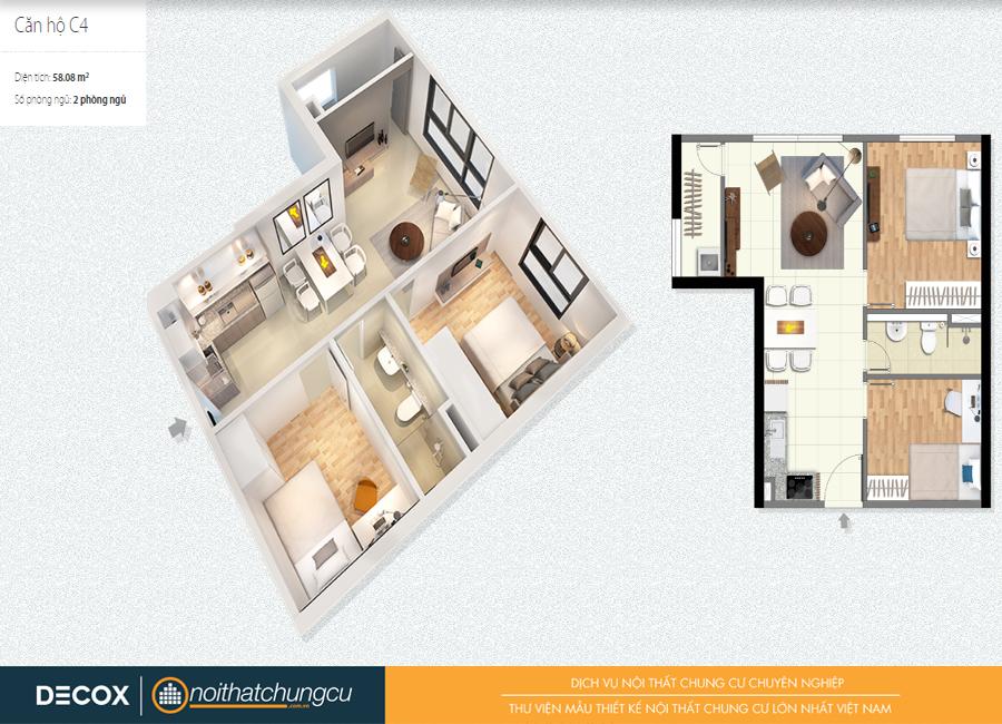 Mặt bằng căn hộ chung cư Citihome 58m2 : căn hộ C4 – 2 phòng ngủ