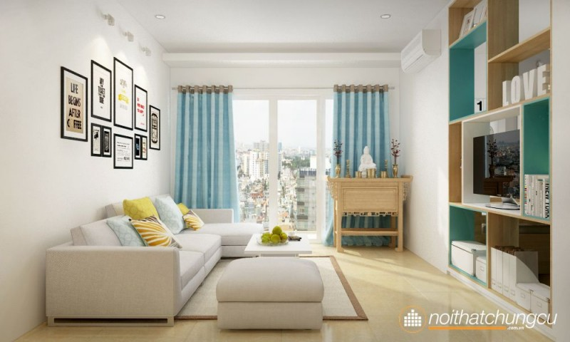 Thiết kế nội thất chung cư 70m2 phong cách tối giản