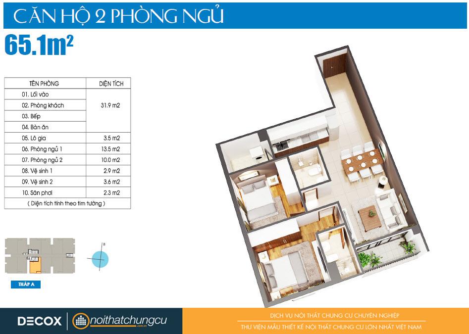 Mặt bằng căn hộ Luxcity 65m2