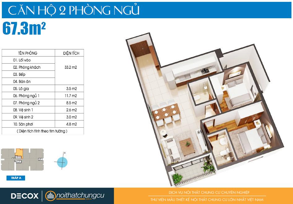 Mặt bằng căn hộ Luxcity 67m2