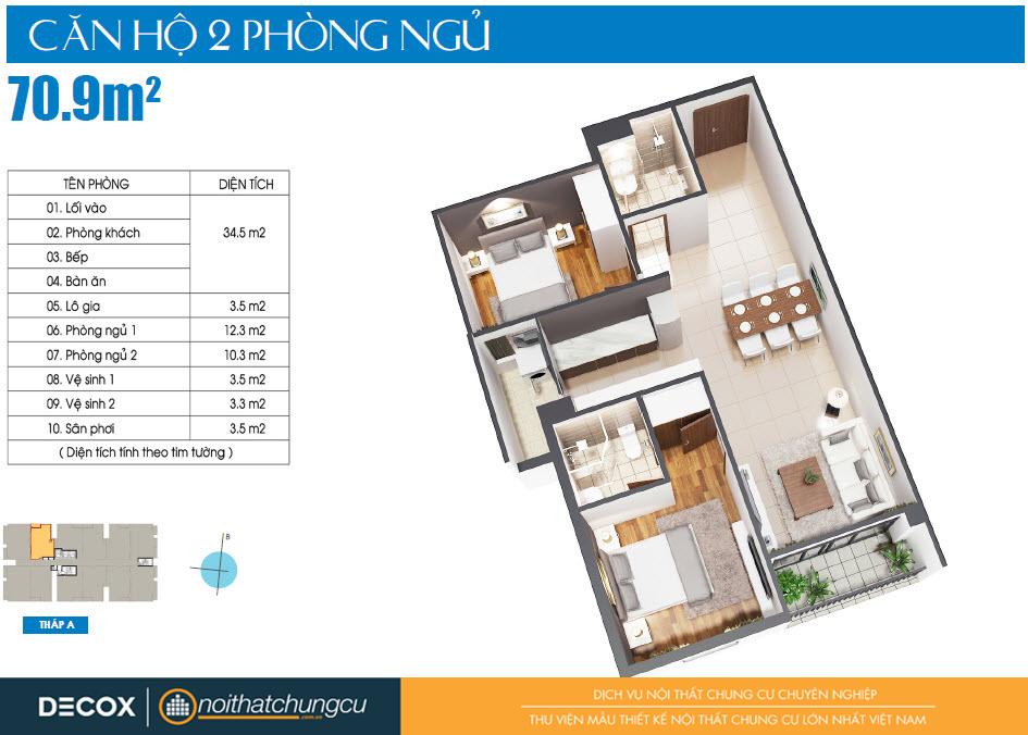 Mặt bằng căn hộ Luxcity 70m2