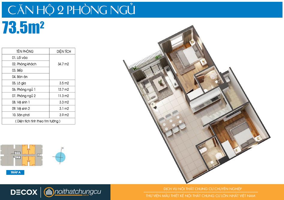 Mặt bằng căn hộ Luxcity 73m2