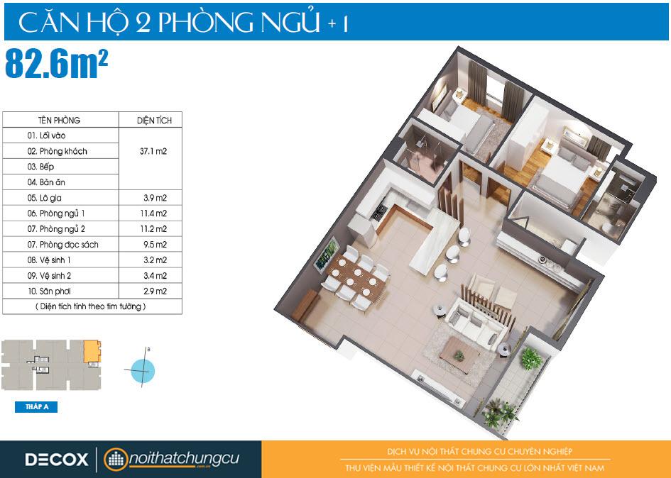 Mặt bằng căn hộ Luxcity 82m2
