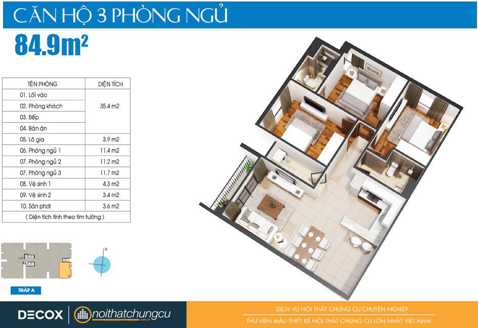 Mặt bằng căn hộ Luxcity 84m2
