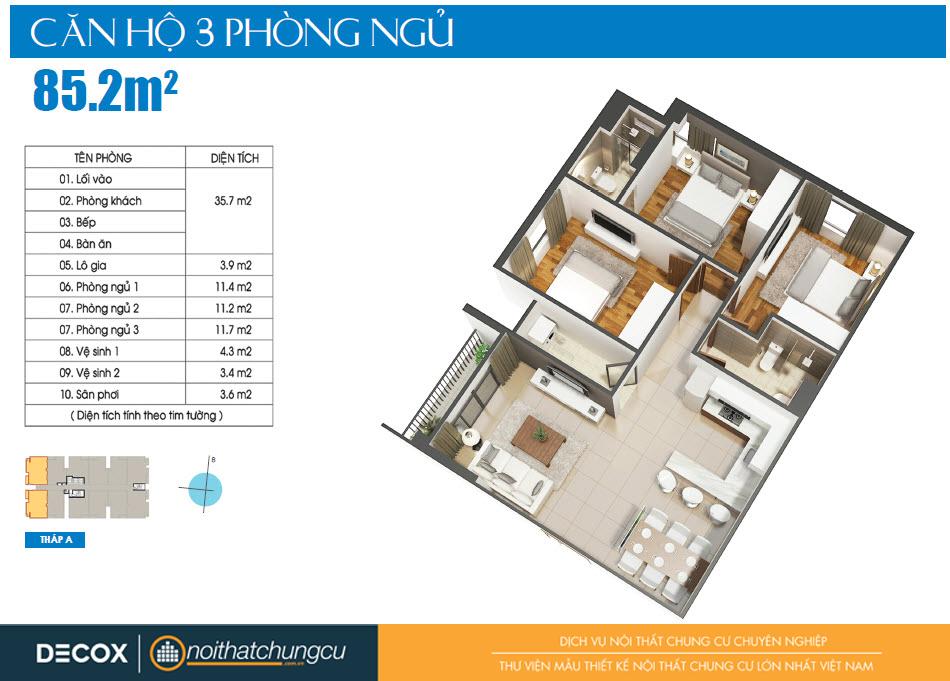 Mặt bằng căn hộ Luxcity 85m2