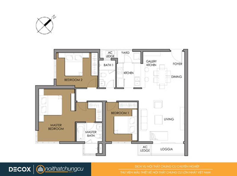 Mặt bằng chung cư Vista Verde 3A-01 107m2