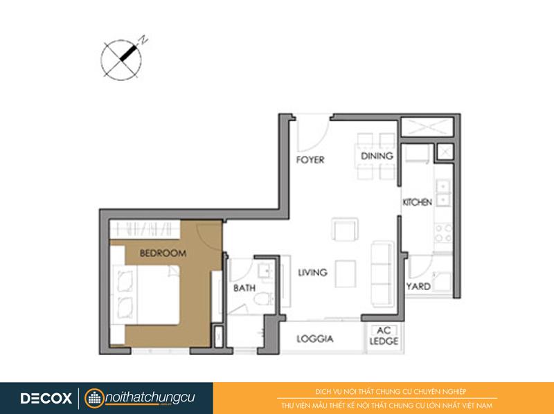 Mặt bằng chung cư Vista Verde 3A-02 50m2