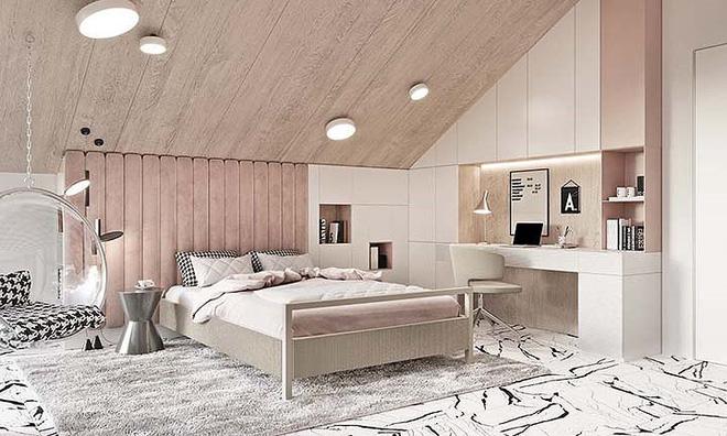 Phòng ngủ hiện đại siêu ngọt ngào dành cho các tín đồ của màu hồng