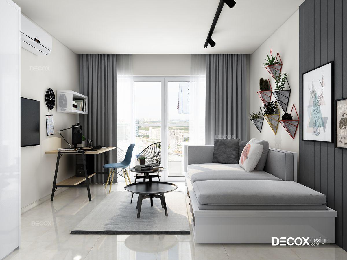 Thiết kế nội thất chung cư Sky Center 38m2